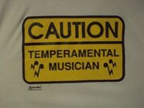 caution temperamental musician t-shirt