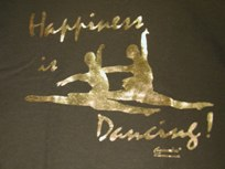 happiness is dancing gold shirt