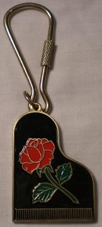 Piano and Rose Key Chain