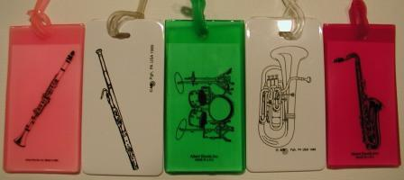 Clarinet, Basoon, Drumset, Horn, and Saxaphone Luggage Tags