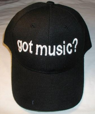 got music? black hat with white letters